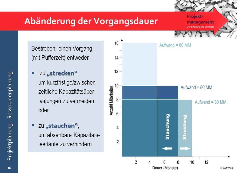 """© Wytrzens Projektplanung – Ressourcenplanung Abänderung der Vorgangsdauer 16 Bestreben, einen Vorgang (mit Pufferzeit) entweder """" strecken """"  zu """" s"""