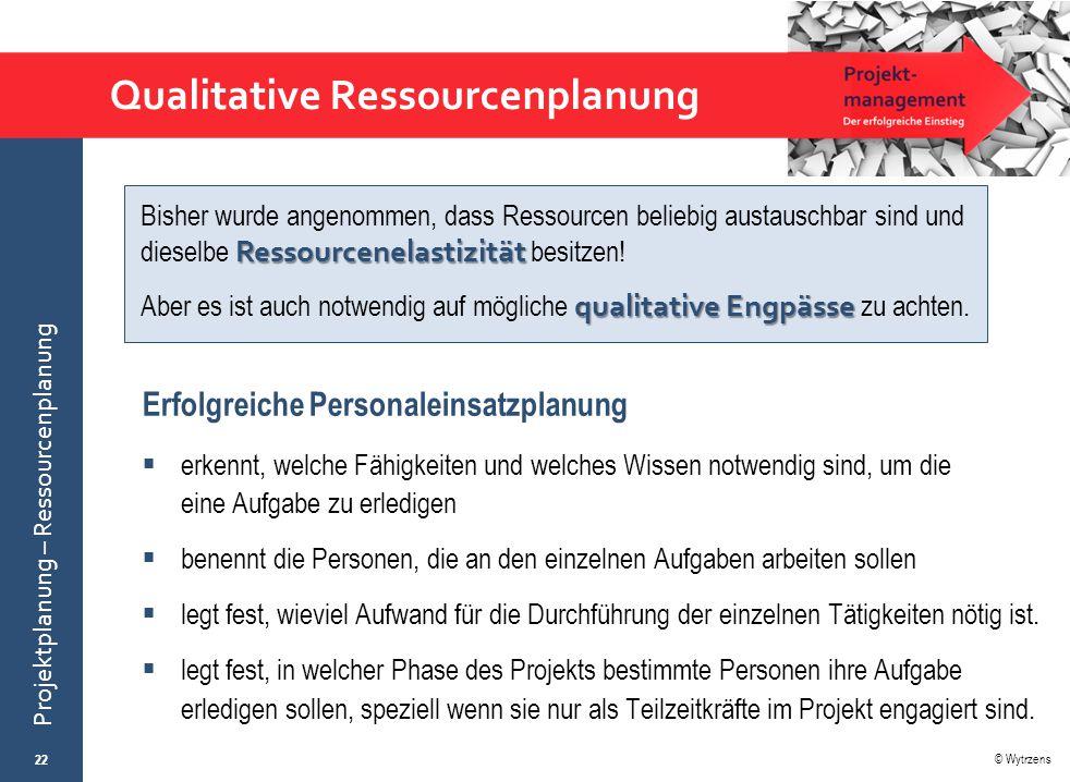 © Wytrzens Projektplanung – Ressourcenplanung Qualitative Ressourcenplanung Erfolgreiche Personaleinsatzplanung  erkennt, welche Fähigkeiten und welc