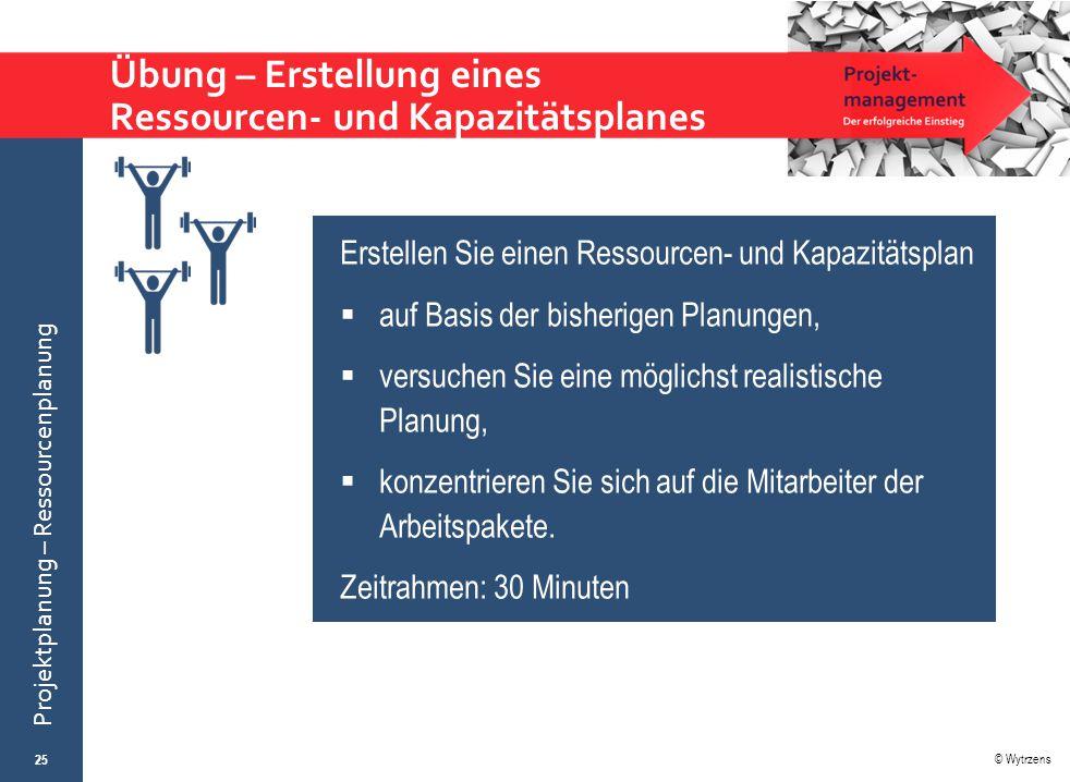 © Wytrzens Projektplanung – Ressourcenplanung Übung – Erstellung eines Ressourcen- und Kapazitätsplanes 25 Erstellen Sie einen Ressourcen- und Kapazit