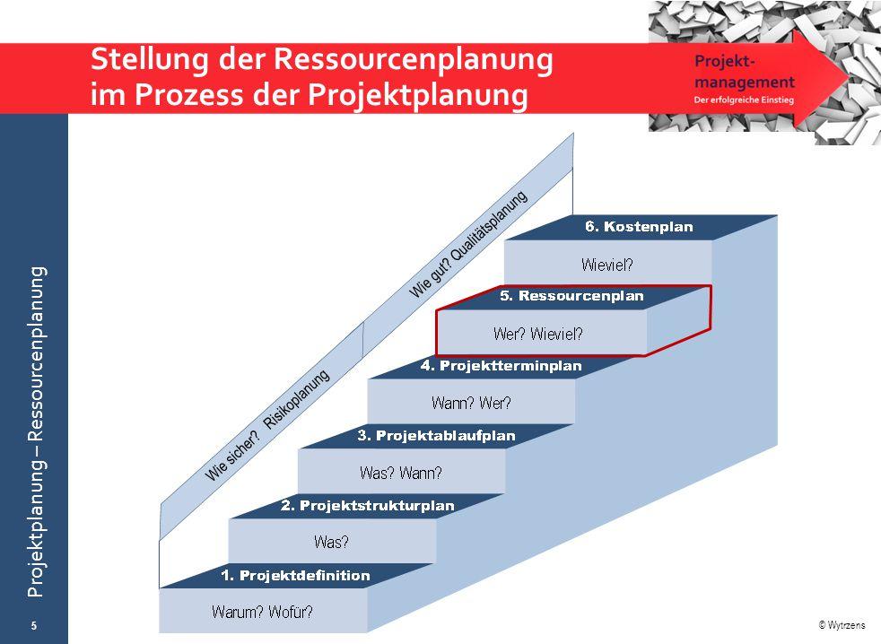 © Wytrzens Projektplanung – Ressourcenplanung Um die Arbeiten laut Terminplan erledigen zu können, muss die richtige Art und Menge von Ressourcen zur richtigen Zeit am richtigen Ort vorhanden sein.
