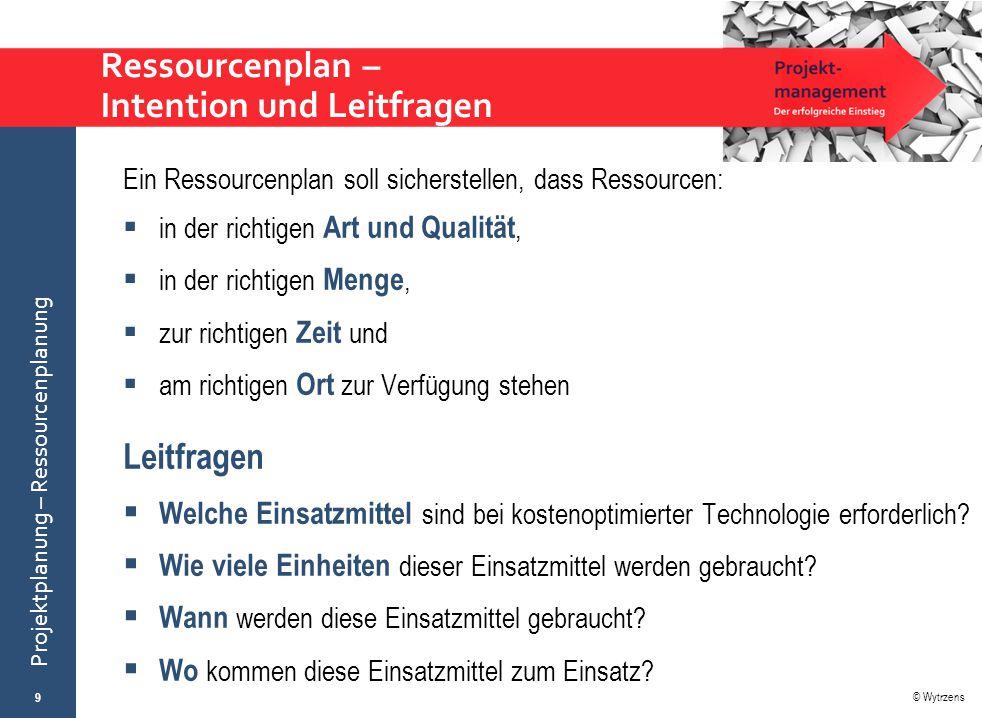 © Wytrzens Projektplanung – Ressourcenplanung … Dauer des AP … Bedarf der speziellen Ressource (z.B.