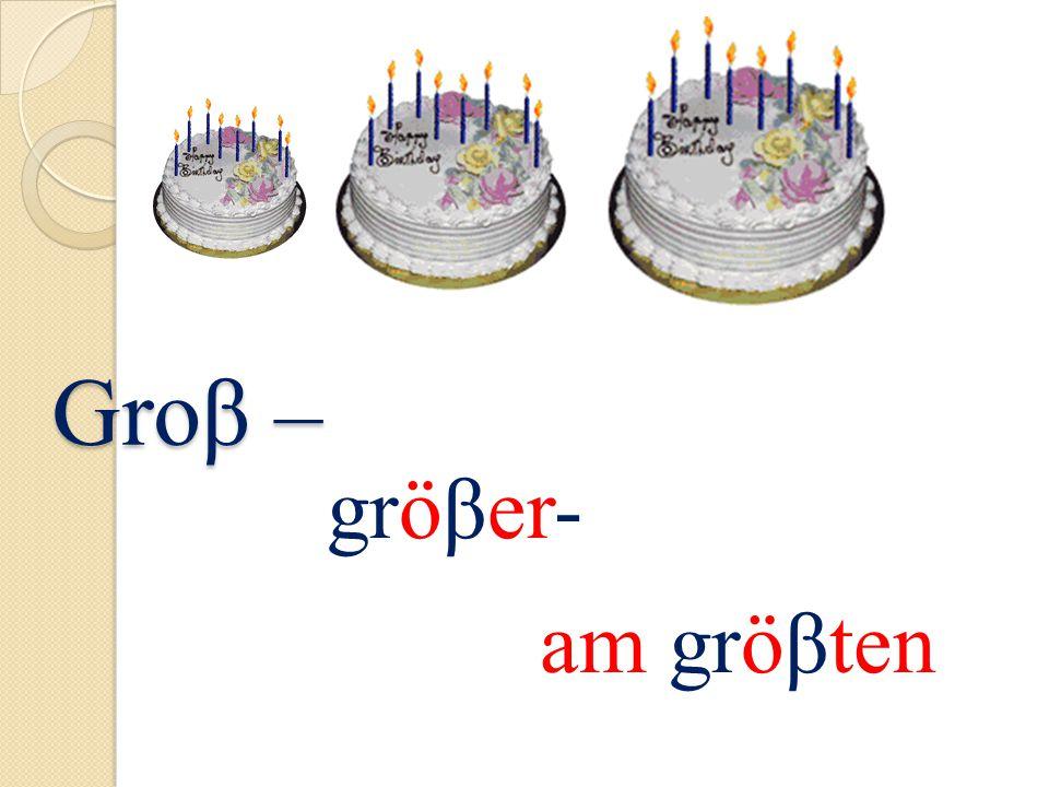 Groβ – Groβ – gröβer- am gröβten