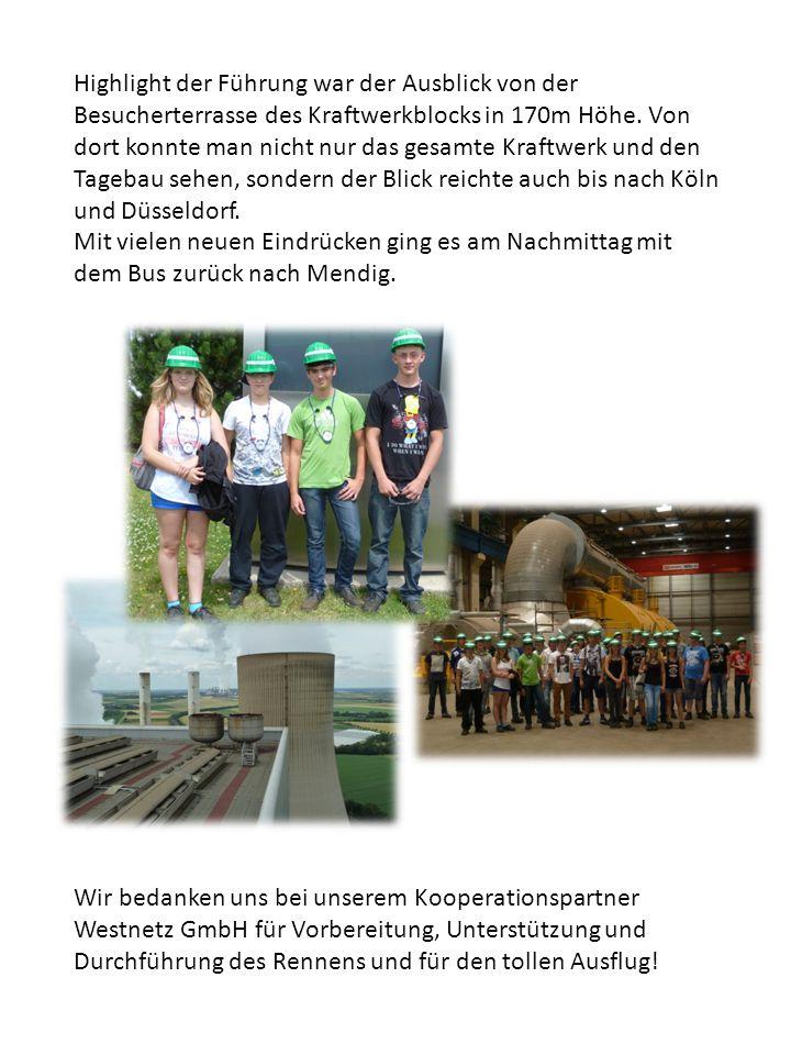 Highlight der Führung war der Ausblick von der Besucherterrasse des Kraftwerkblocks in 170m Höhe.