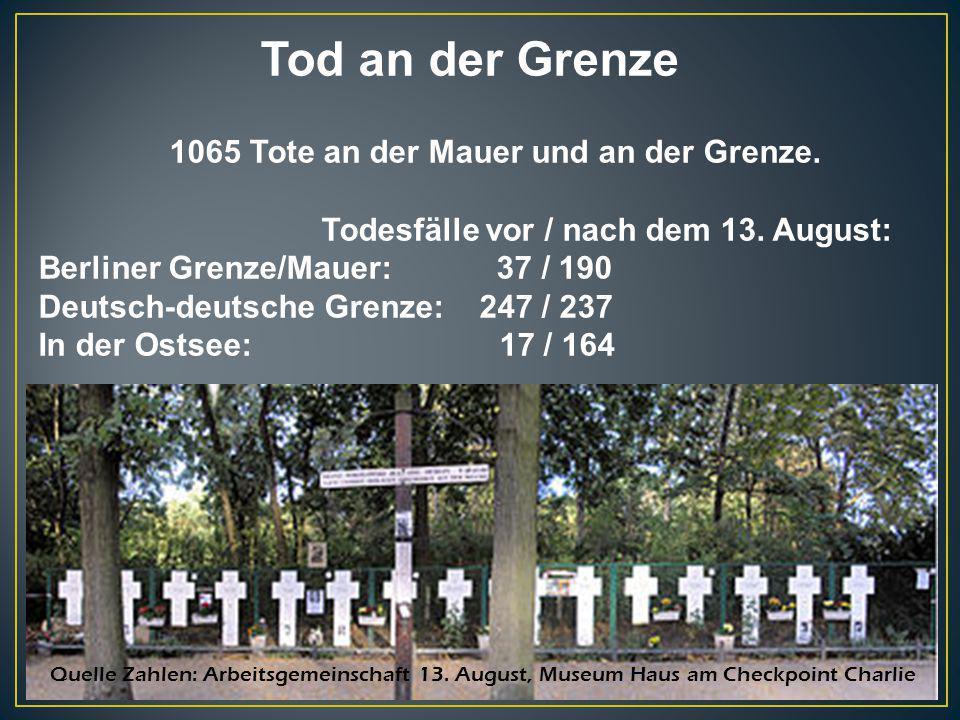 Tod an der Grenze 1065 Tote an der Mauer und an der Grenze. Todesfälle vor / nach dem 13. August: Berliner Grenze/Mauer: 37 / 190 Deutsch-deutsche Gre