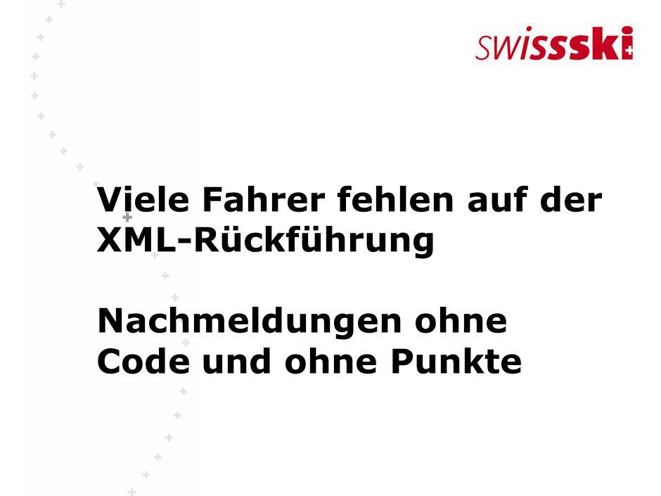 Viele Fahrer fehlen auf der XML-Rückführung Nachmeldungen ohne Code und ohne Punkte