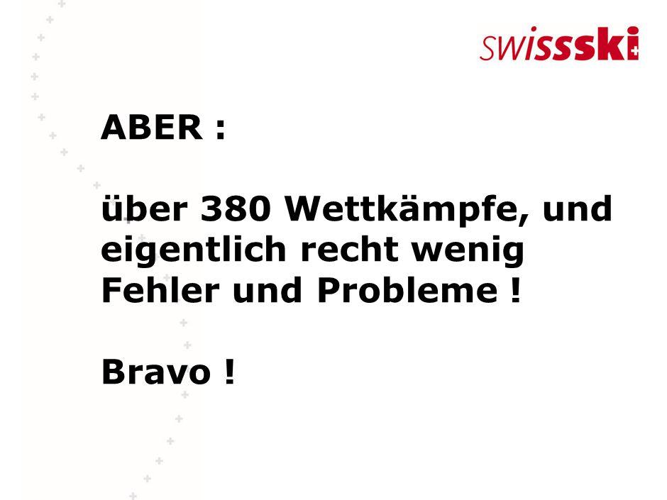 ABER : über 380 Wettkämpfe, und eigentlich recht wenig Fehler und Probleme ! Bravo !