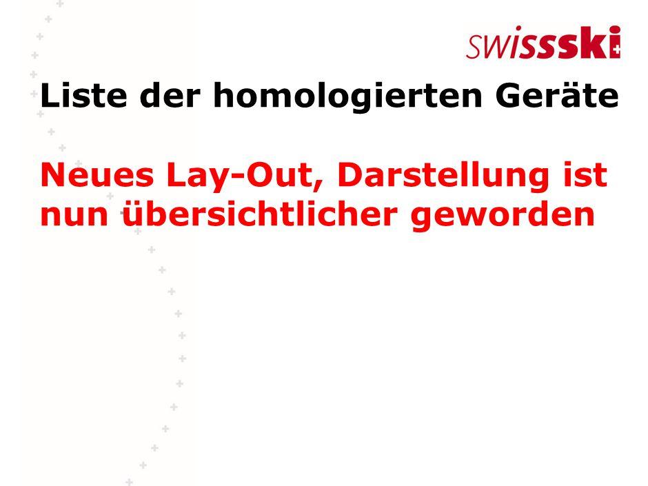 Liste der homologierten Geräte Neues Lay-Out, Darstellung ist nun übersichtlicher geworden