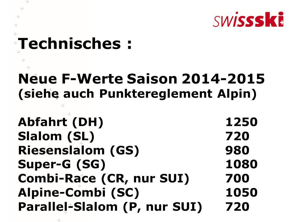 Technisches : Neue F-Werte Saison 2014-2015 (siehe auch Punktereglement Alpin) Abfahrt (DH)1250 Slalom (SL)720 Riesenslalom (GS)980 Super-G (SG)1080 Combi-Race (CR, nur SUI)700 Alpine-Combi (SC) 1050 Parallel-Slalom (P, nur SUI)720