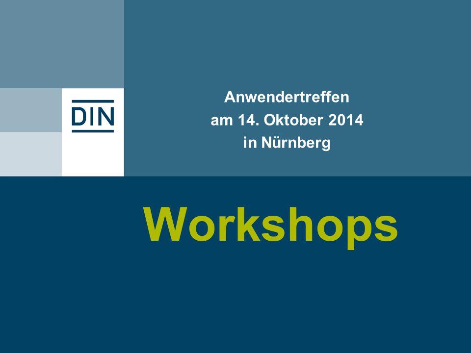 Workshops Anwendertreffen am 14. Oktober 2014 in Nürnberg