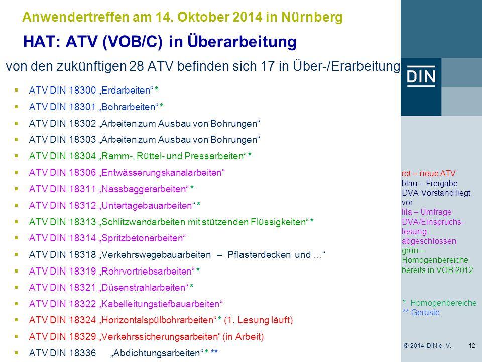 """* Homogenbereiche ** Gerüste  ATV DIN 18300 """"Erdarbeiten"""" *  ATV DIN 18301 """"Bohrarbeiten"""" *  ATV DIN 18302 """"Arbeiten zum Ausbau von Bohrungen""""  AT"""