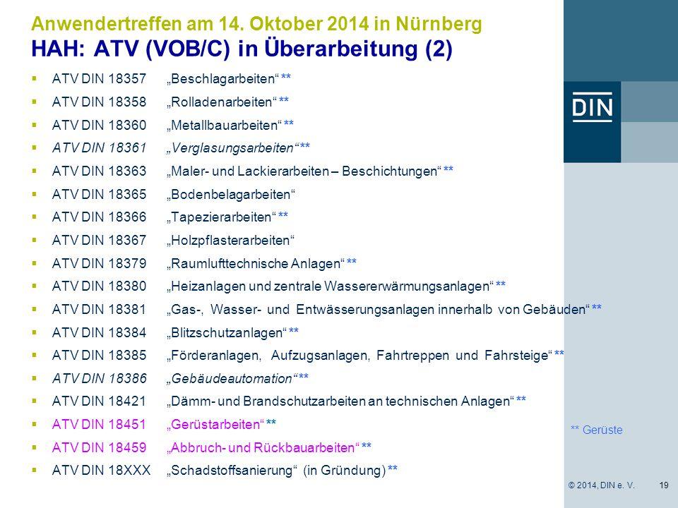 "** Gerüste  ATV DIN 18357""Beschlagarbeiten"" **  ATV DIN 18358""Rolladenarbeiten"" **  ATV DIN 18360""Metallbauarbeiten"" **  ATV DIN 18361""Verglasungs"