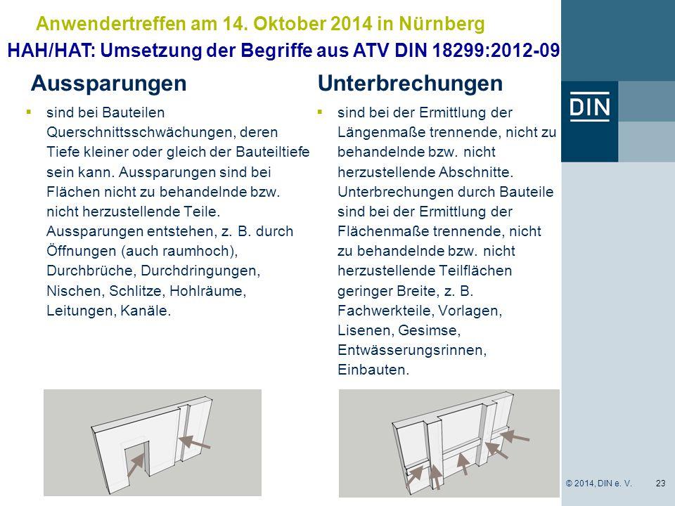 Anwendertreffen am 14. Oktober 2014 in Nürnberg Aussparungen  sind bei Bauteilen Querschnittsschwächungen, deren Tiefe kleiner oder gleich der Bautei