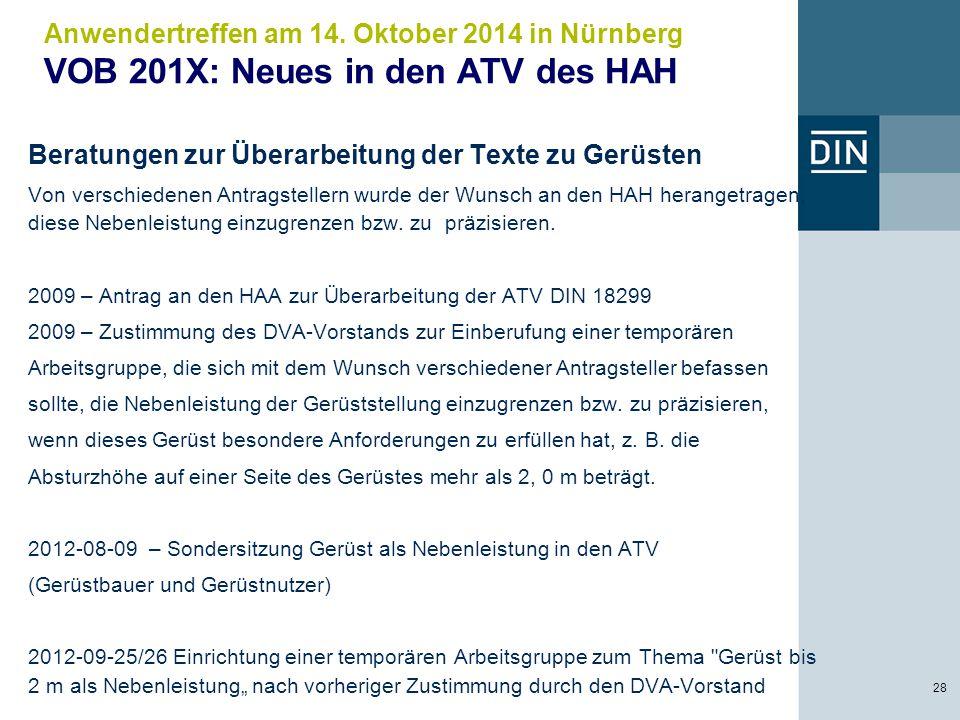 Anwendertreffen am 14. Oktober 2014 in Nürnberg VOB 201X: Neues in den ATV des HAH 28 Beratungen zur Überarbeitung der Texte zu Gerüsten Von verschied