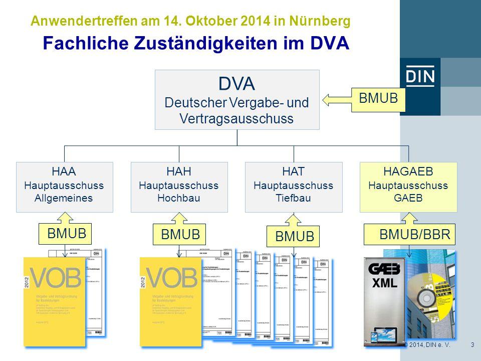 Fachliche Zuständigkeiten im DVA 3 Anwendertreffen am 14. Oktober 2014 in Nürnberg DVA Deutscher Vergabe- und Vertragsausschuss HAA Hauptausschuss All