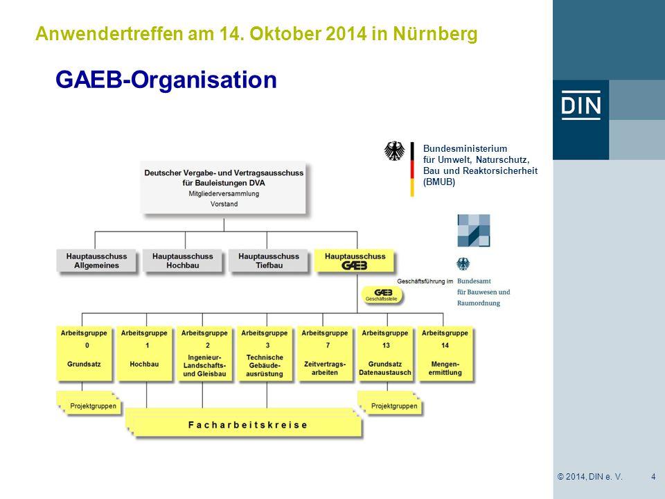 GAEB-Organisation 4 Anwendertreffen am 14. Oktober 2014 in Nürnberg Bundesministerium für Umwelt, Naturschutz, Bau und Reaktorsicherheit (BMUB) © 2014