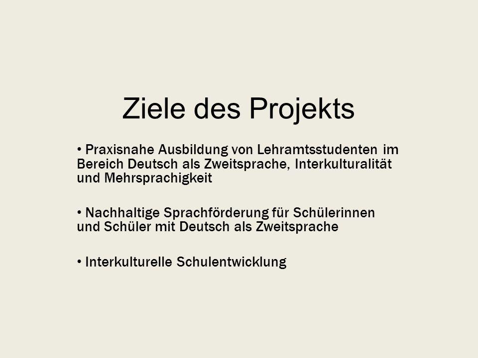 Ziele des Projekts Praxisnahe Ausbildung von Lehramtsstudenten im Bereich Deutsch als Zweitsprache, Interkulturalität und Mehrsprachigkeit Nachhaltige Sprachförderung für Schülerinnen und Schüler mit Deutsch als Zweitsprache Interkulturelle Schulentwicklung
