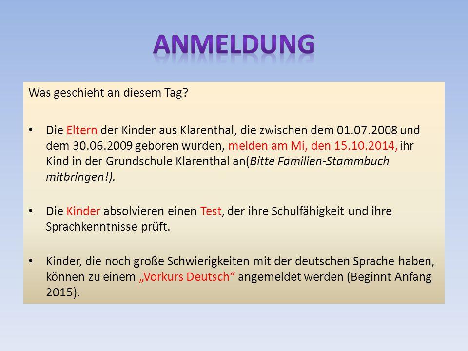 Kann-Kinder Kinder, die zwischen dem 01.07.2009 und 31.12.2009 geboren wurden, können ebenfalls angemeldet werden.