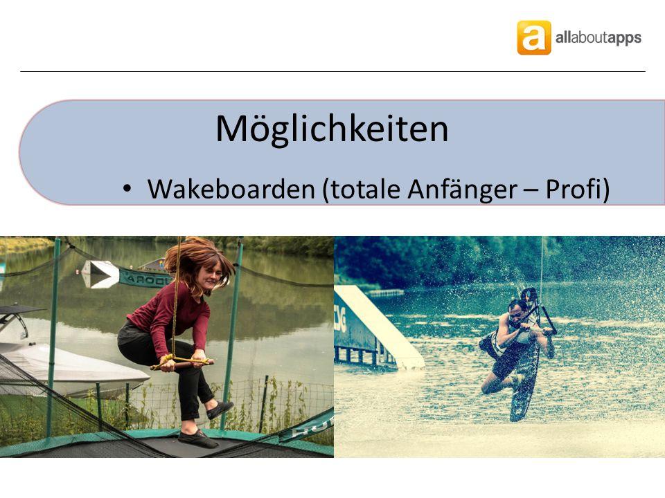 Möglichkeiten Wakeboarden (totale Anfänger – Profi)