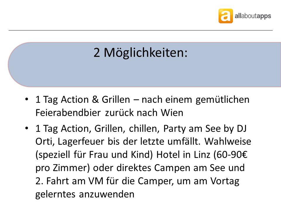 2 Möglichkeiten: 1 Tag Action & Grillen – nach einem gemütlichen Feierabendbier zurück nach Wien 1 Tag Action, Grillen, chillen, Party am See by DJ Orti, Lagerfeuer bis der letzte umfällt.
