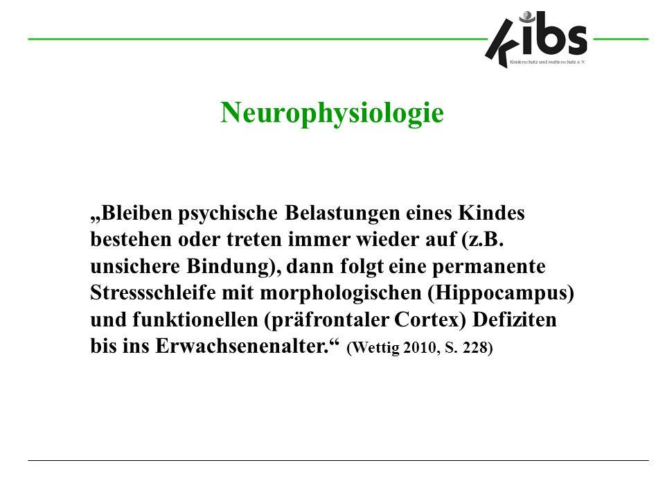 """Neurophysiologie """"Bleiben psychische Belastungen eines Kindes bestehen oder treten immer wieder auf (z.B. unsichere Bindung), dann folgt eine permanen"""