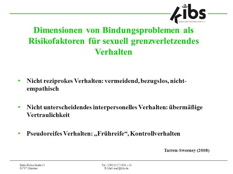 Kathi-Kobus-Straße 11 80797 München Tel.: (089) 23 17 16 91 – 22 E-Mail: mail@kibs.de Dimensionen von Bindungsproblemen als Risikofaktoren für sexuell