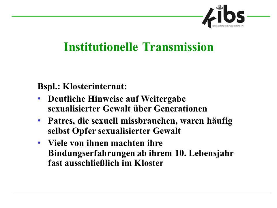 Institutionelle Transmission Bspl.: Klosterinternat: Deutliche Hinweise auf Weitergabe sexualisierter Gewalt über Generationen Patres, die sexuell mis