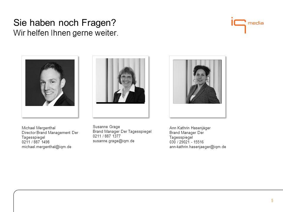5 Susanne Grage Brand Manager Der Tagesspiegel 0211 / 887 1377 susanne.grage@iqm.de Sie haben noch Fragen.