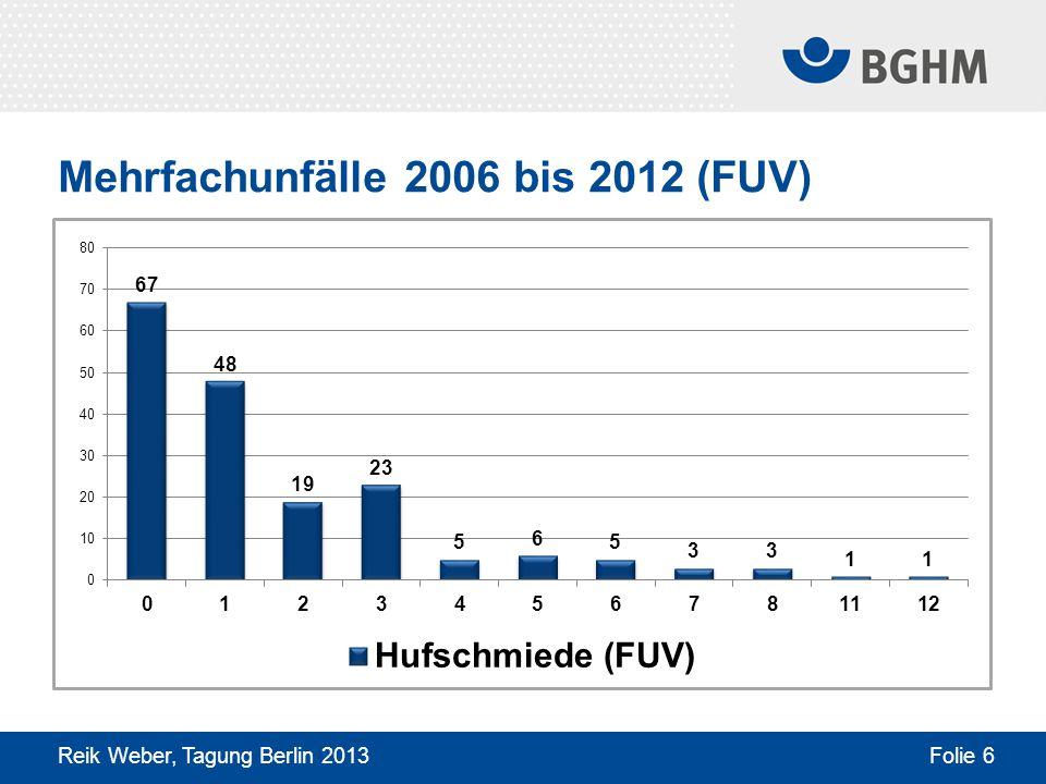 Mehrfachunfälle 2006 bis 2012 (FUV) Reik Weber, Tagung Berlin 2013 Folie 6