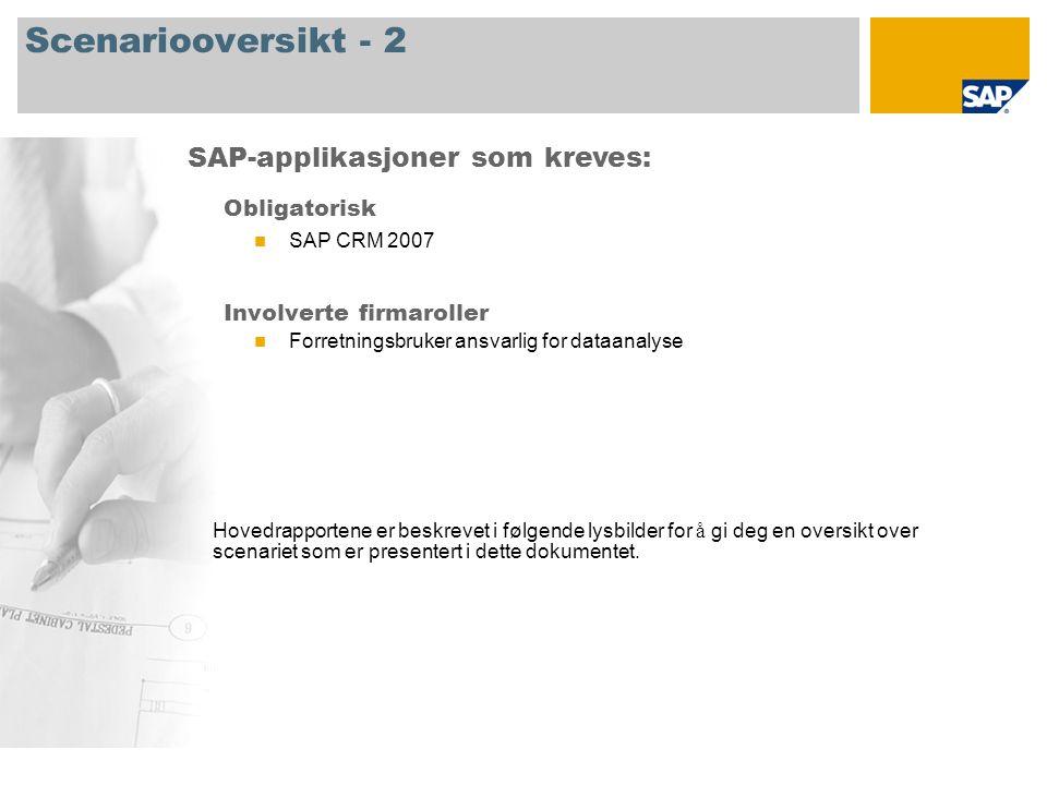 Scenariooversikt - 2 Obligatorisk SAP CRM 2007 Involverte firmaroller Forretningsbruker ansvarlig for dataanalyse SAP-applikasjoner som kreves: Hovedrapportene er beskrevet i følgende lysbilder for å gi deg en oversikt over scenariet som er presentert i dette dokumentet.