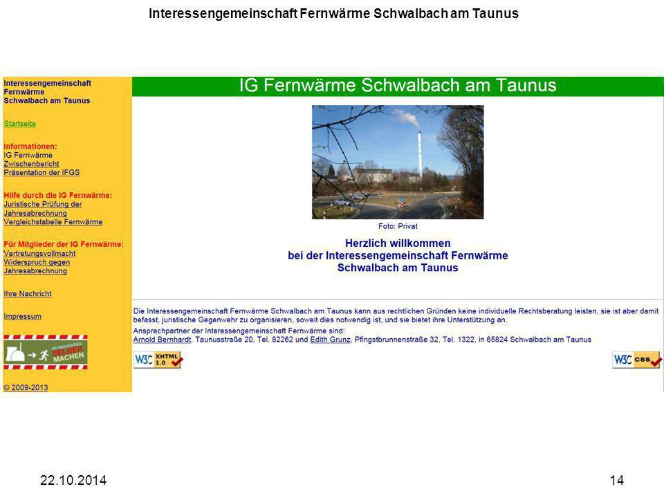 22.10.201414 Interessengemeinschaft Fernwärme Schwalbach am Taunus