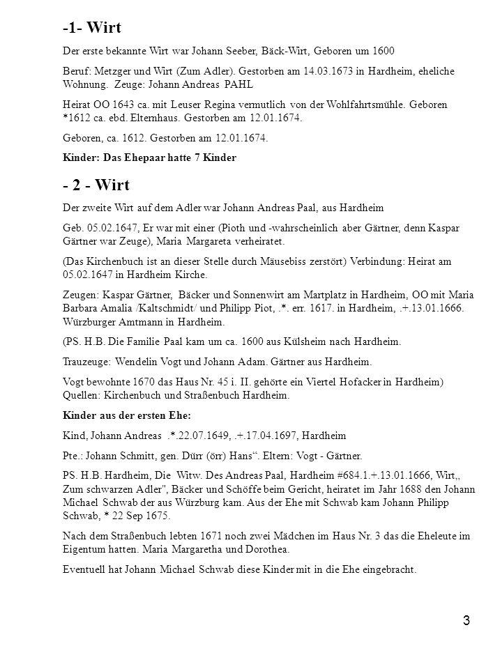 3 -1- Wirt Der erste bekannte Wirt war Johann Seeber, Bäck-Wirt, Geboren um 1600 Beruf: Metzger und Wirt (Zum Adler). Gestorben am 14.03.1673 in Hardh