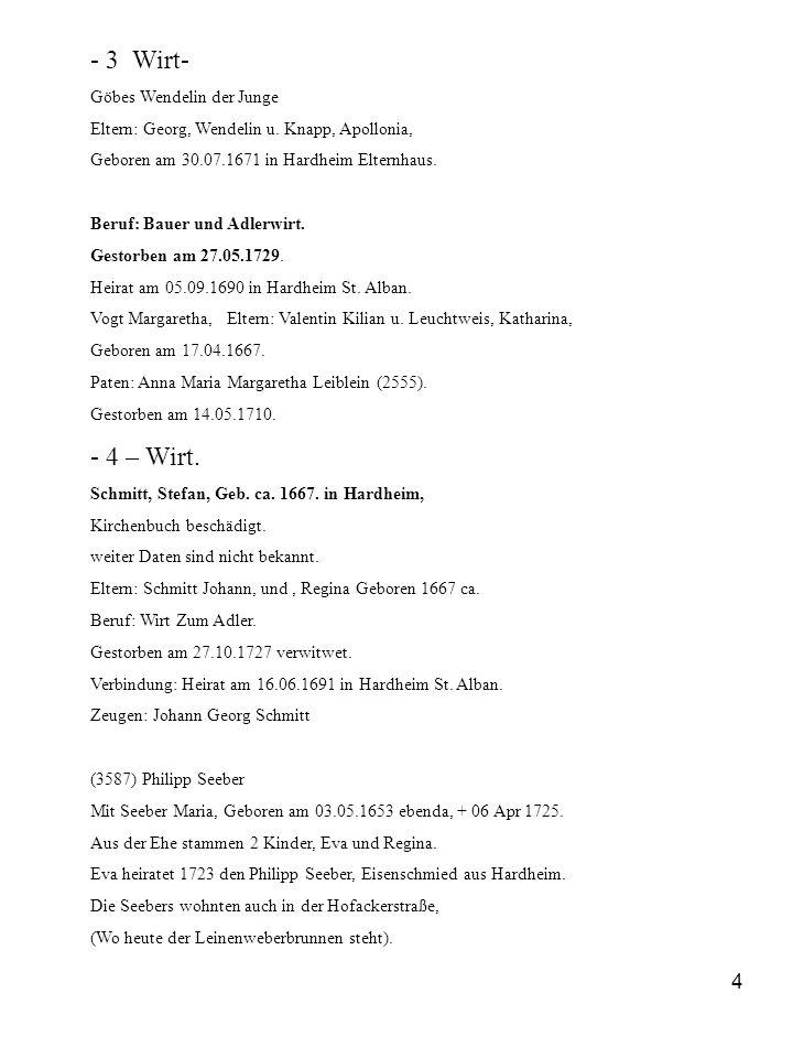 4 - 3 Wirt- Göbes Wendelin der Junge Eltern: Georg, Wendelin u. Knapp, Apollonia, Geboren am 30.07.1671 in Hardheim Elternhaus. Beruf: Bauer und Adler