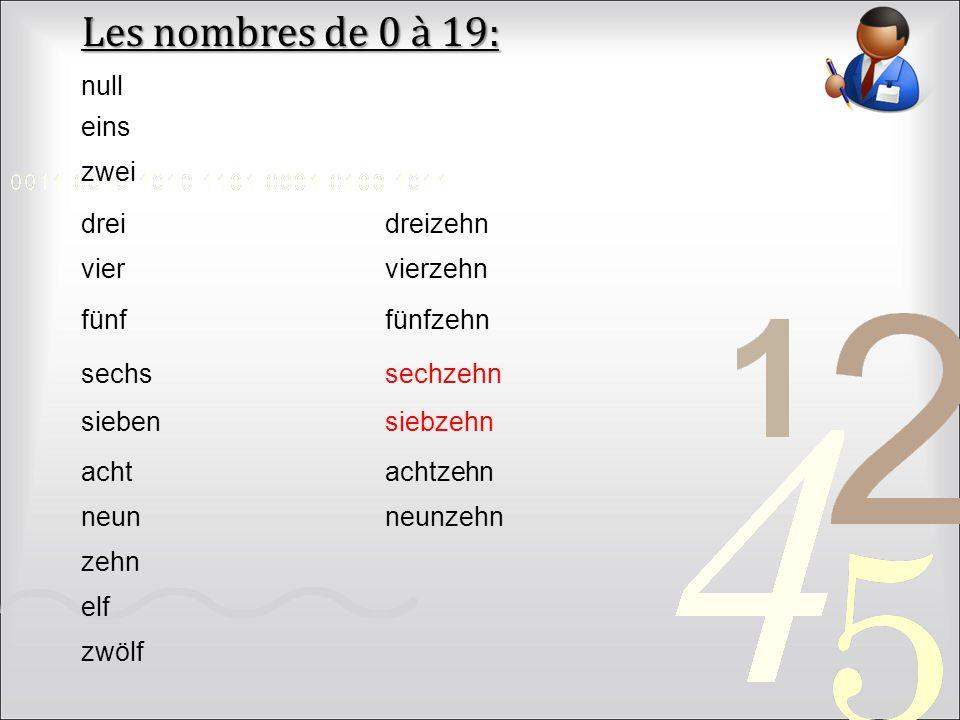 Les nombres de 0 à 19: zwei drei vier fünf sechs sieben acht eins neun zehn elf zwölf dreizehn vierzehn fünfzehn sechzehn siebzehn achtzehn neunzehn null