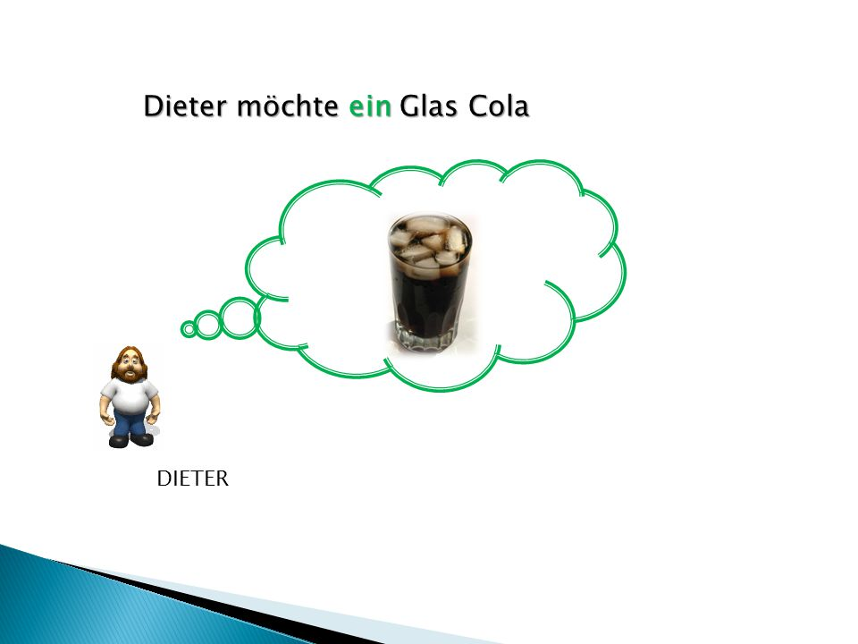 Dieter möchte ein Glas Cola DIETER
