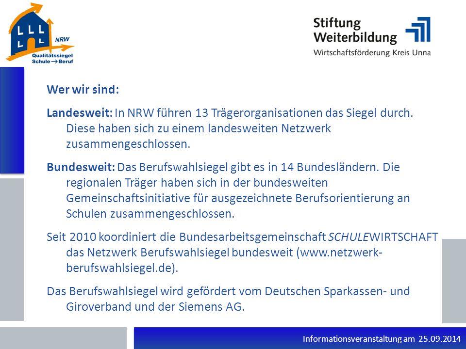 Informationsveranstaltung am 25.09.2014 Vielen Dank für Ihre Aufmerksamkeit!