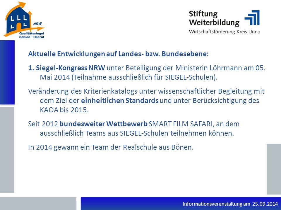 Informationsveranstaltung am 25.09.2014 Aktuelle Entwicklungen auf Landes- bzw.