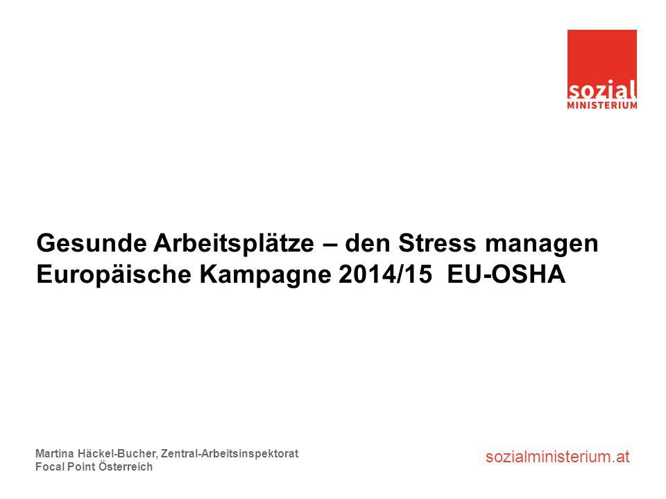 sozialministerium.at Gesunde Arbeitsplätze – den Stress managen Europäische Kampagne 2014/15 EU-OSHA Martina Häckel-Bucher, Zentral-Arbeitsinspektorat