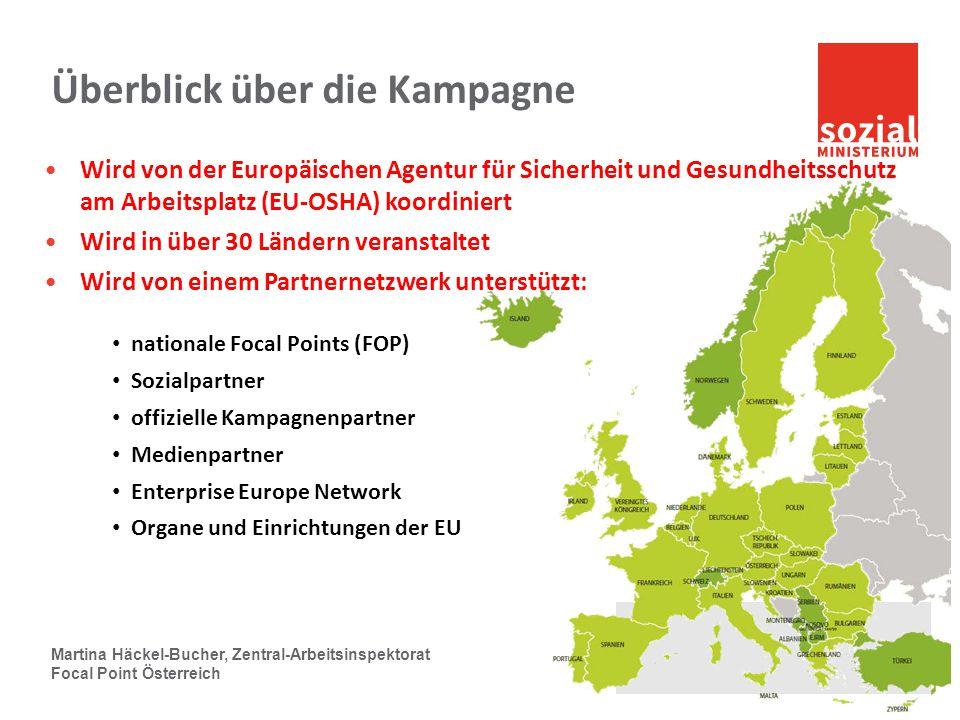 Überblick über die Kampagne Wird von der Europäischen Agentur für Sicherheit und Gesundheitsschutz am Arbeitsplatz (EU-OSHA) koordiniert Wird in über