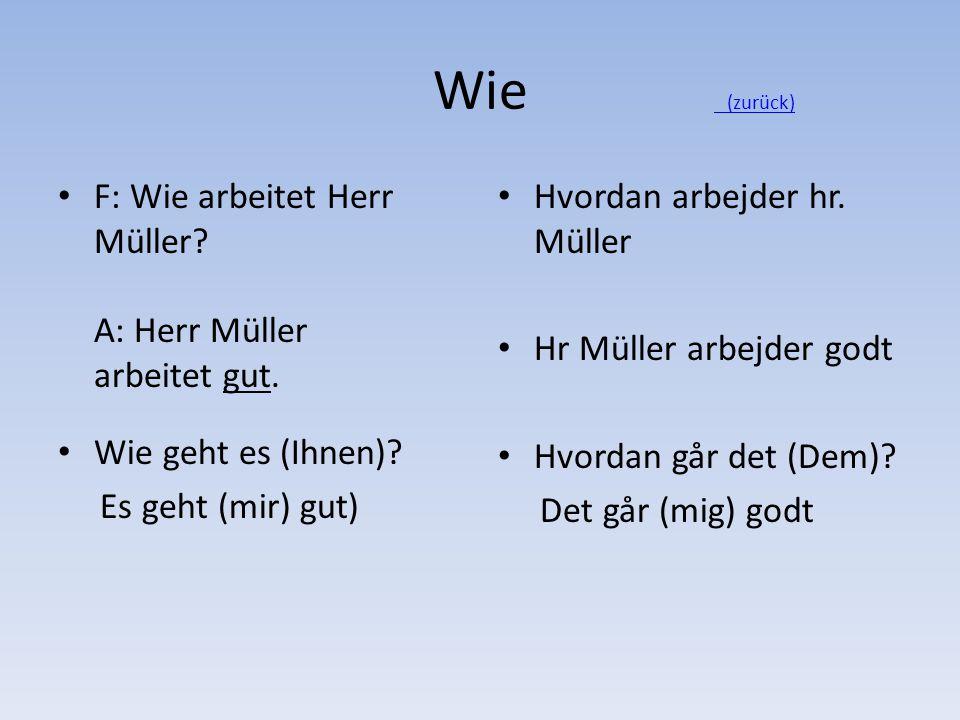 Wie (zurück) (zurück) F: Wie arbeitet Herr Müller? A: Herr Müller arbeitet gut. Wie geht es (Ihnen)? Es geht (mir) gut) Hvordan arbejder hr. Müller Hr