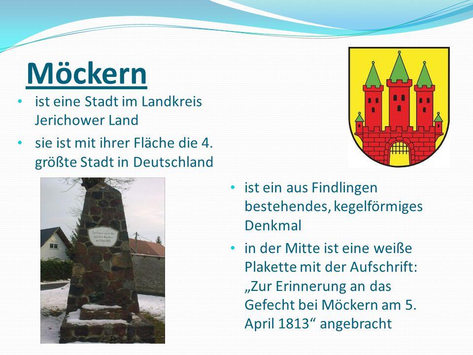 Möckern ist eine Stadt im Landkreis Jerichower Land sie ist mit ihrer Fläche die 4. größte Stadt in Deutschland ist ein aus Findlingen bestehendes, ke