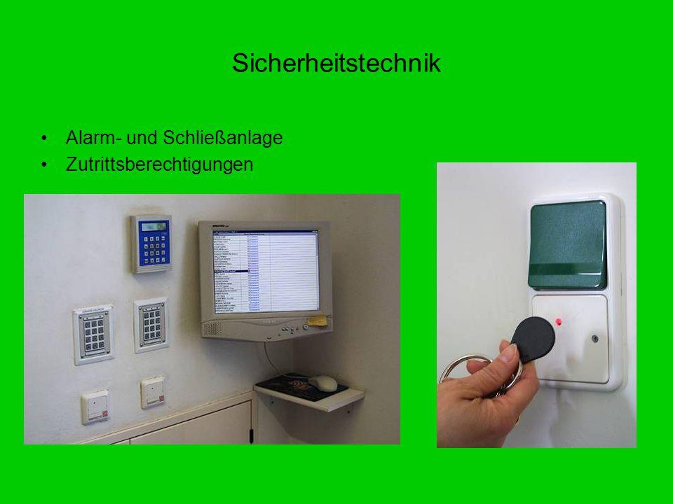 Alarm- und Schließanlage Zutrittsberechtigungen Sicherheitstechnik