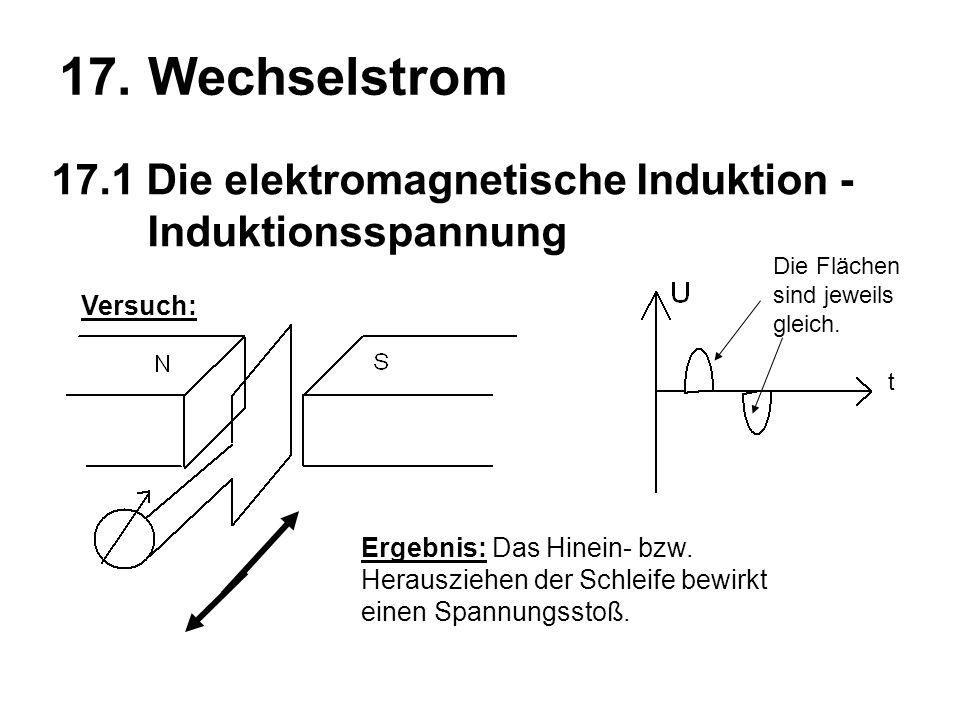 17. Wechselstrom 17.1 Die elektromagnetische Induktion - Induktionsspannung Ergebnis: Das Hinein- bzw. Herausziehen der Schleife bewirkt einen Spannun