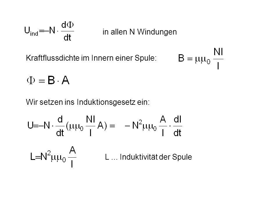 in allen N Windungen Kraftflussdichte im Innern einer Spule: Wir setzen ins Induktionsgesetz ein: L...