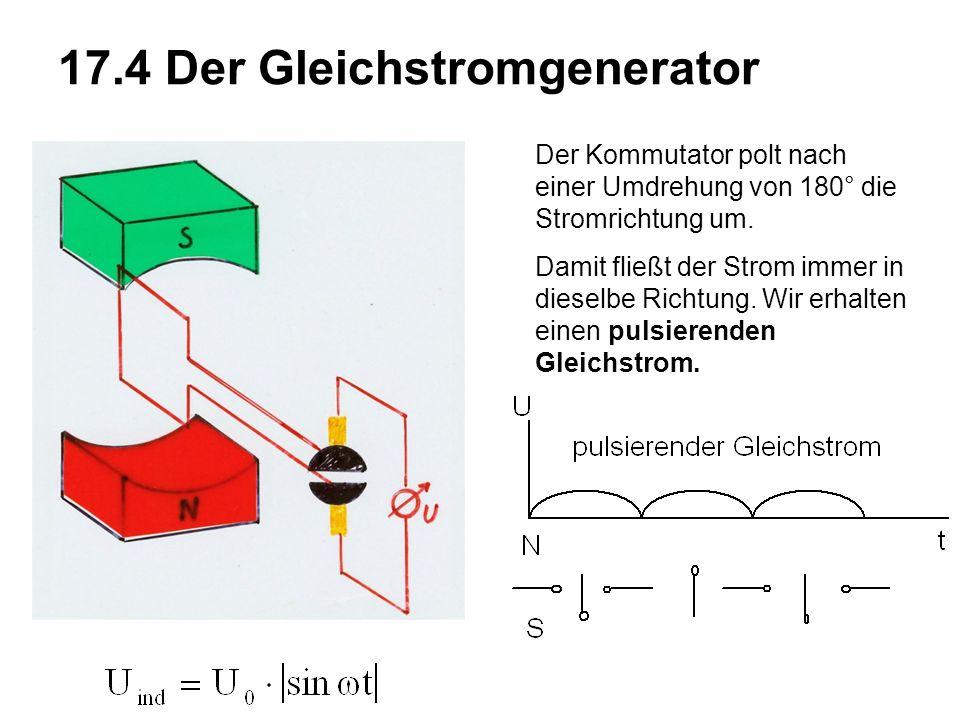 17.4 Der Gleichstromgenerator Der Kommutator polt nach einer Umdrehung von 180° die Stromrichtung um.