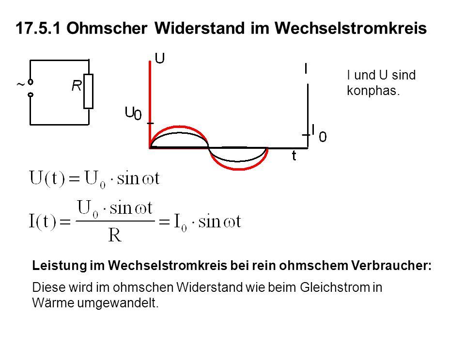 17.5.1 Ohmscher Widerstand im Wechselstromkreis I und U sind konphas.