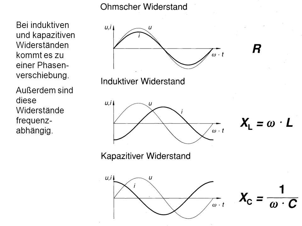 Bei induktiven und kapazitiven Widerständen kommt es zu einer Phasen- verschiebung.