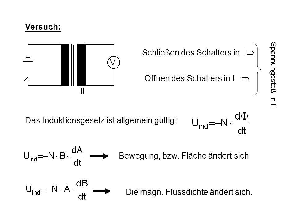 Versuch: Schließen des Schalters in I  Spannungsstoß in II Öffnen des Schalters in I  Das Induktionsgesetz ist allgemein gültig: Bewegung, bzw.
