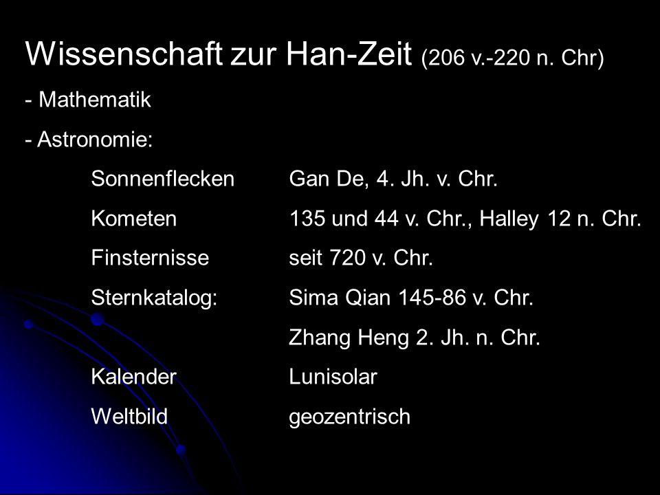 Wissenschaft zur Han-Zeit (206 v.-220 n.Chr) - Mathematik - Astronomie: Sonnenflecken Gan De, 4.