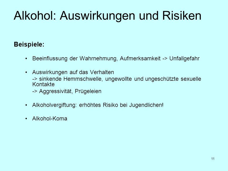 11 Alkohol: Auswirkungen und Risiken Beispiele: Beeinflussung der Wahrnehmung, Aufmerksamkeit -> Unfallgefahr Auswirkungen auf das Verhalten -> sinken