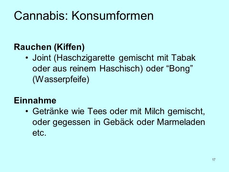 """17 Cannabis: Konsumformen Rauchen (Kiffen) Joint (Haschzigarette gemischt mit Tabak oder aus reinem Haschisch) oder """"Bong"""" (Wasserpfeife) Einnahme Get"""